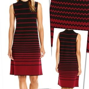 NIC + ZOE RED BLACK STRIPED TEXTURED SHEATH DRESS